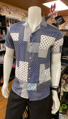 Tencel Print Bluestone Patch Shirt L