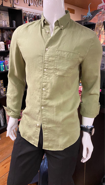 Tencel Linen Blend Shirt Sage Small