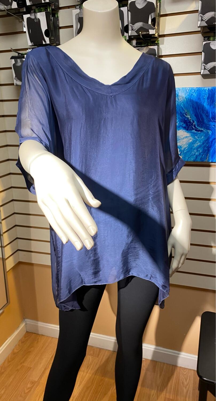 M Woven Silk Combo Top Navy S
