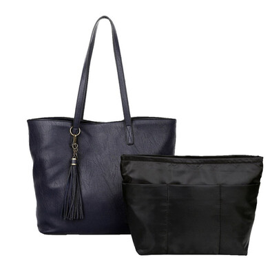 Large Vegan Tote Navy With Inner Bag