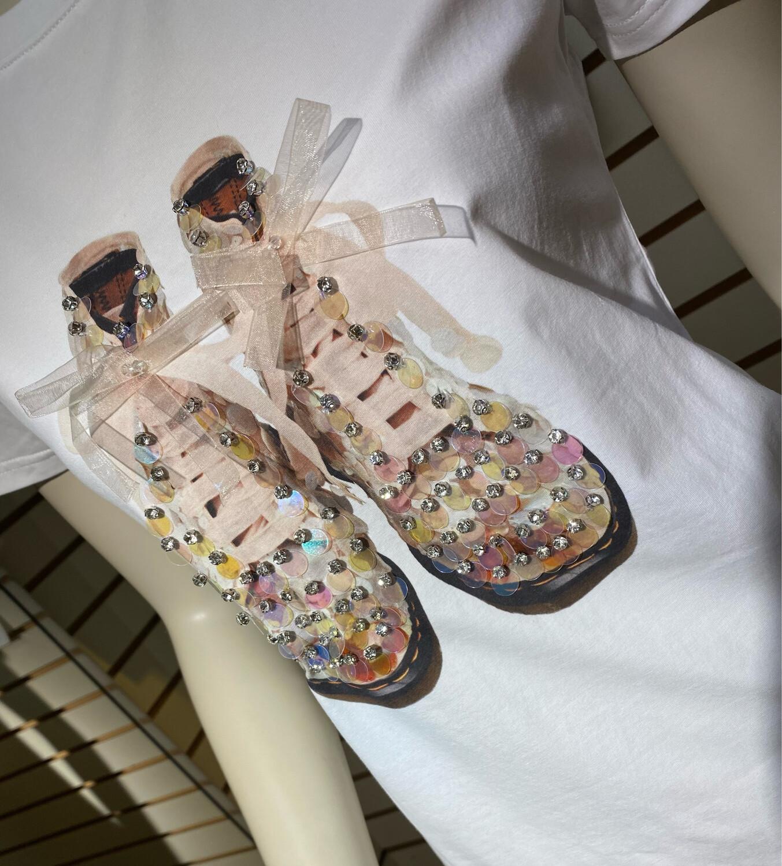 Coco Glitter Shoes Tee XXL
