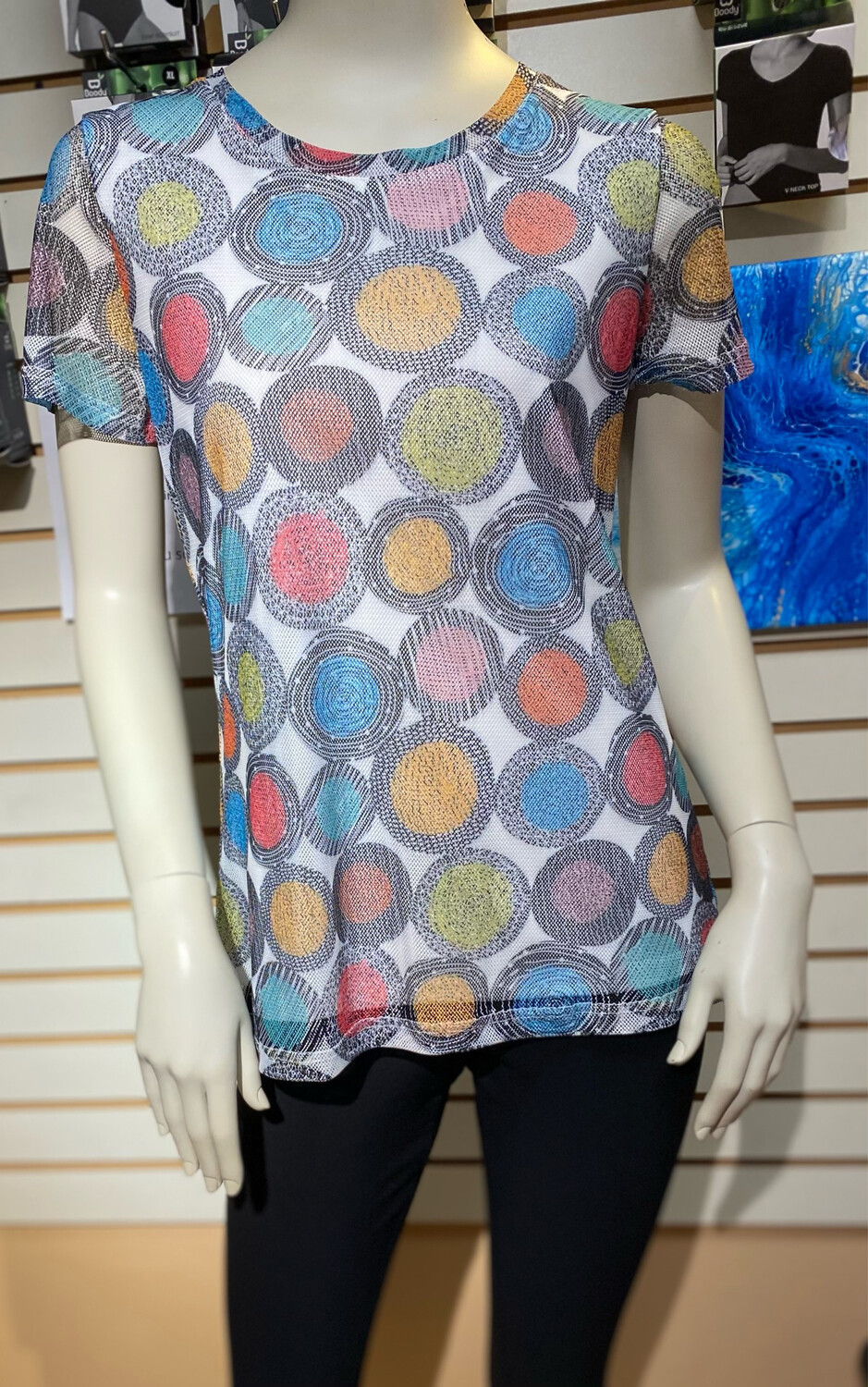 Coco Multi Color Mesh Tee M