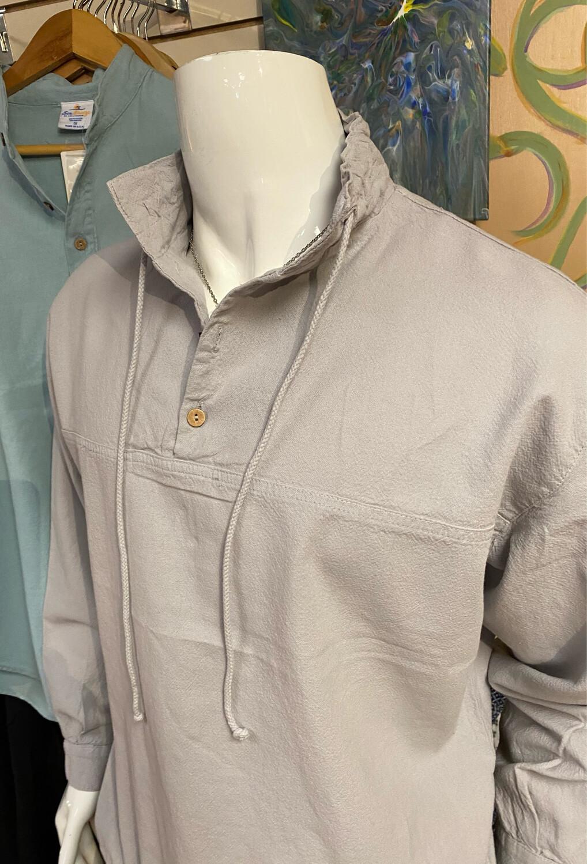 Sea Crinkle Button Long Sleeve Pullover 2X Dusk