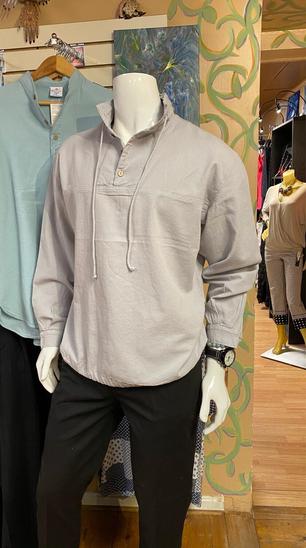 Sea Crinkle Button Long Sleeve Pullover 1X Dusk
