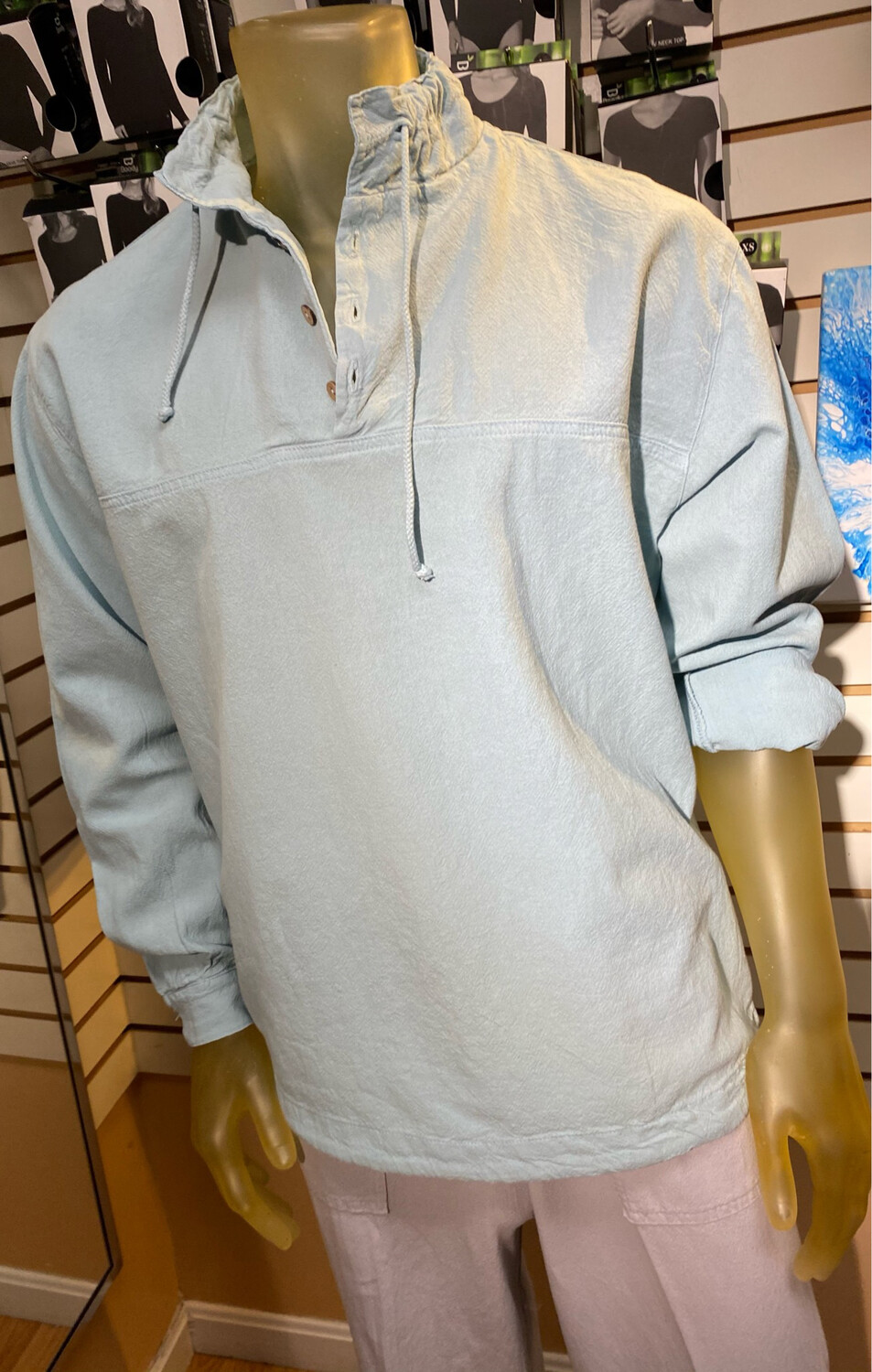 Sea Crinkle Button Long Sleeve Pullover M Seacliff