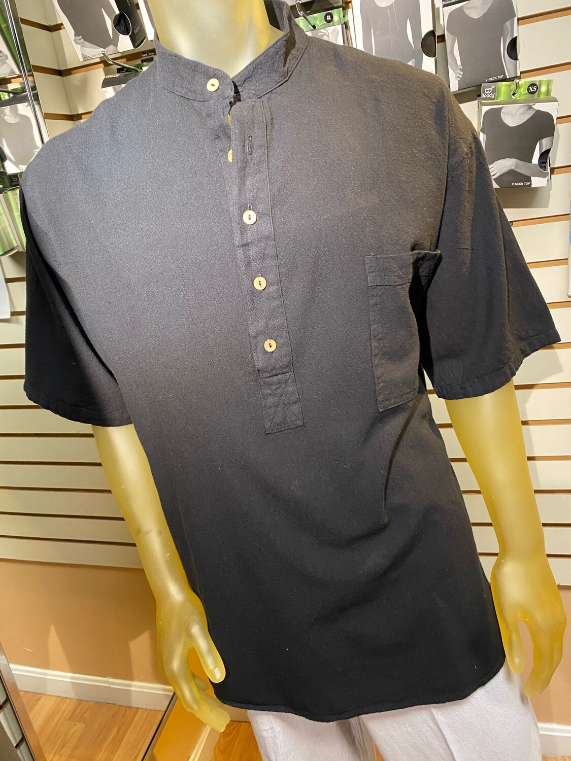 Sea 5 Button Henley L Black