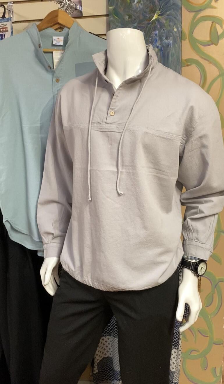 Sea Crinkle Button Long Sleeve Pullover XL Dusk