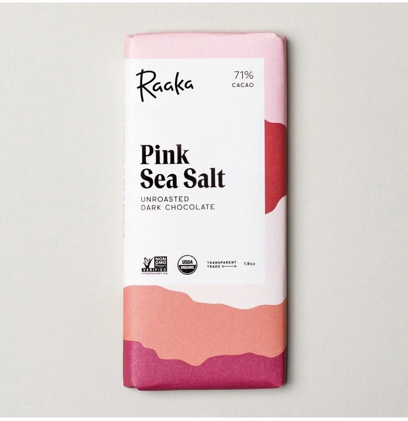 Raaka Pink Sea Salt Unroasted Dark Chocolate Bar