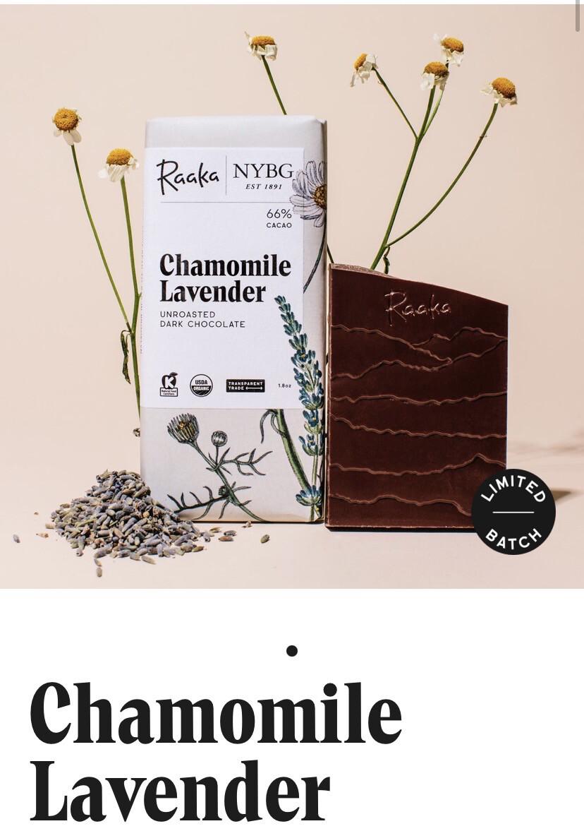 Raaka Chamomile Lavender Unroasted Dark Chocolate Bar