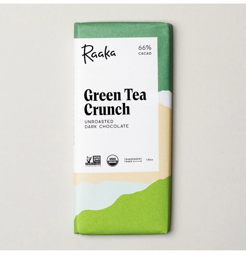 Raaka Grean Tea Crunch Unroasted Dark Chocolate