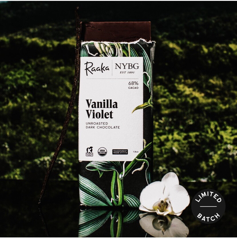 Raaka Vanilla Violet Unroasted Dark Chocolate Bar