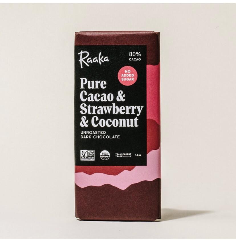 Raaka Pure Cacao & Strawberry Coconut Unroasted Dark Chocolated