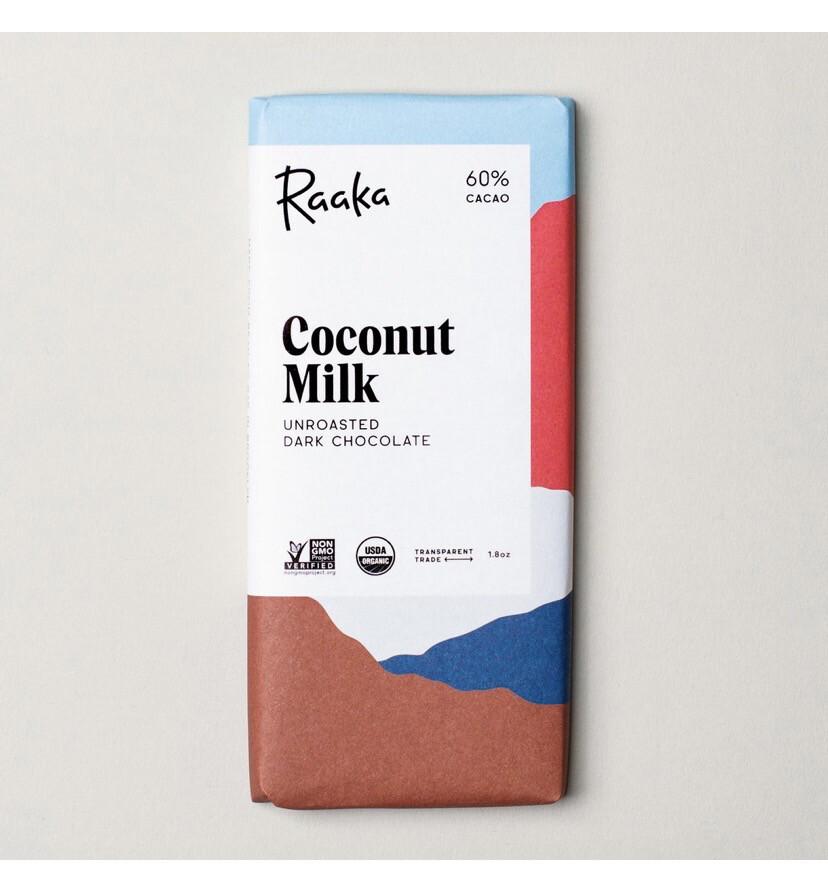 Raaka Coconut Milk Bar Unroasted Dark Chocolate Bar