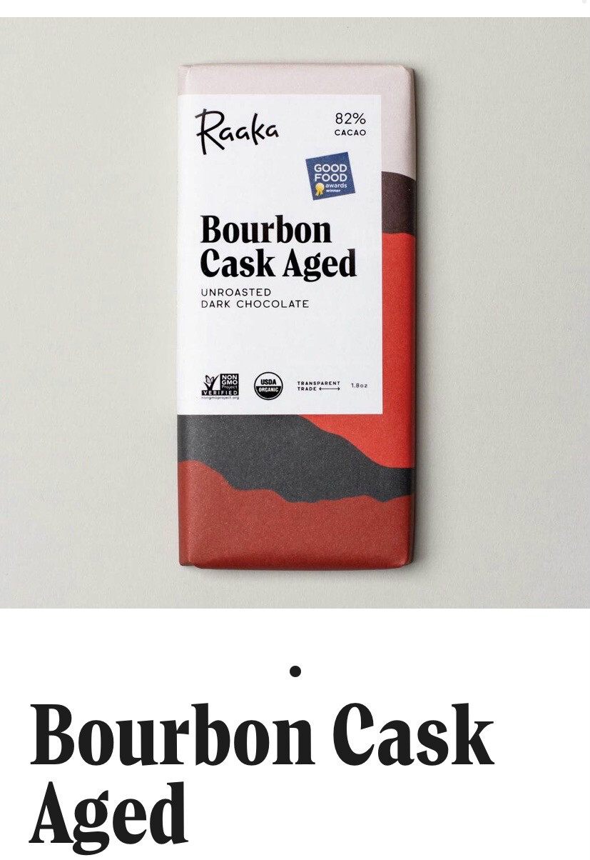 Raaka Bourbon Cask Aged Unroasted Dark Chocolate Bar