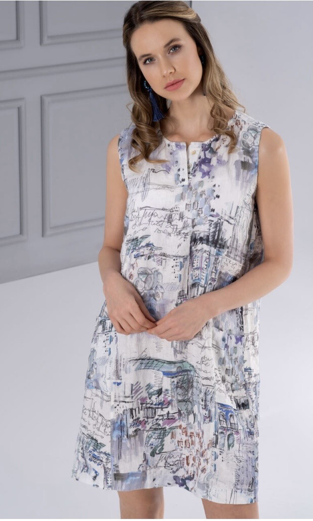 Dolcezza Portrait Woven Dress 100% Linen XL
