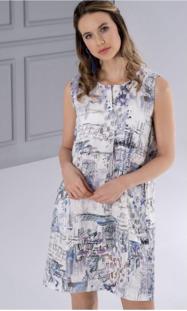 Dolcezza Portrait Woven Dress 100% Linen M