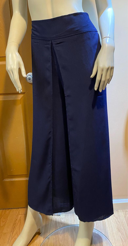Apricot Linen Wrap Pant Navy S
