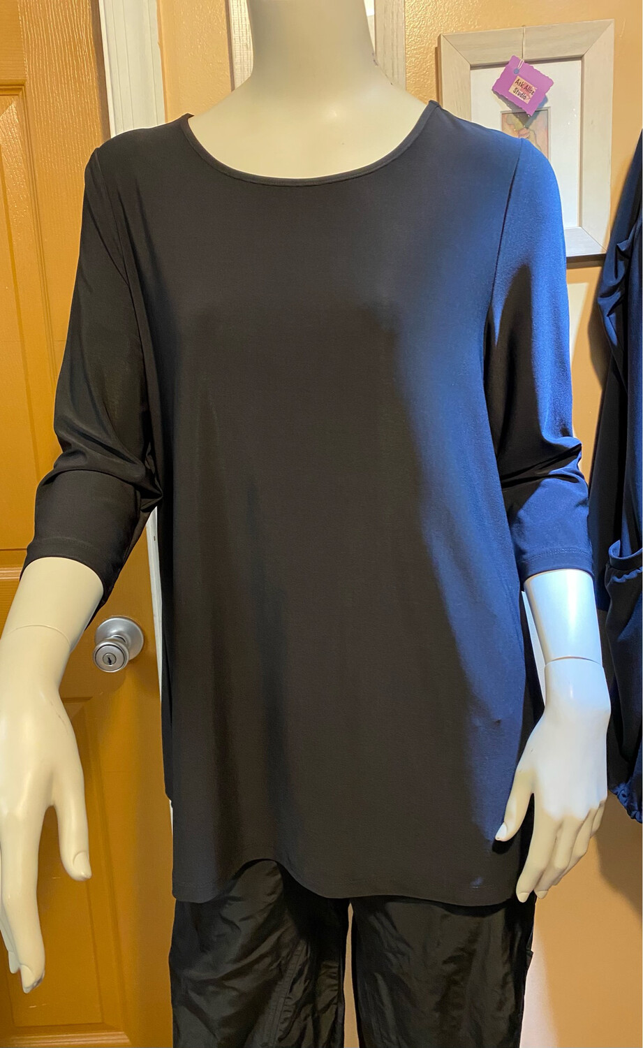 LIV Fndatn Knit 3/4 Sleeve Tunic Black L