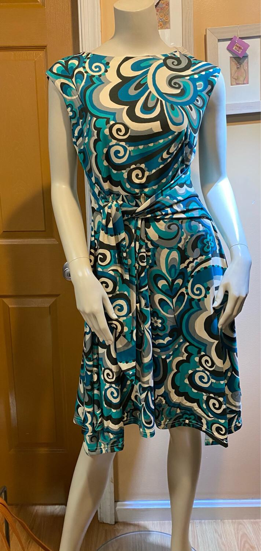 Apricot Swirl Tie Front Dress Aqua S