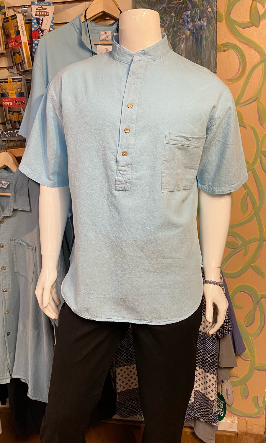 Sea 5 Button Cotton Henley L Seacliff
