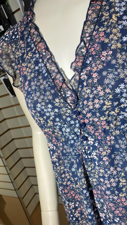 Apricot Floral Vneck Dress Navy L