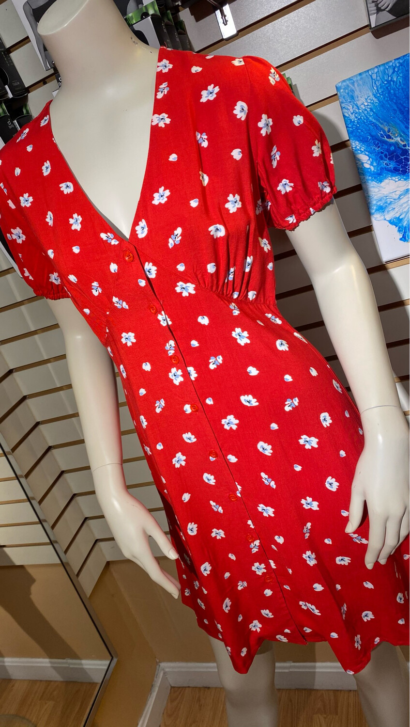 Apricot Floral Button Dress Red XS