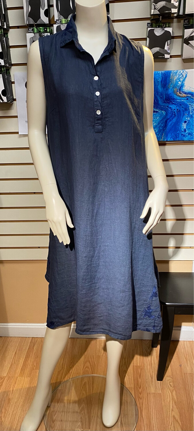 Made In Italy Slvless Linen Dress Navy XS