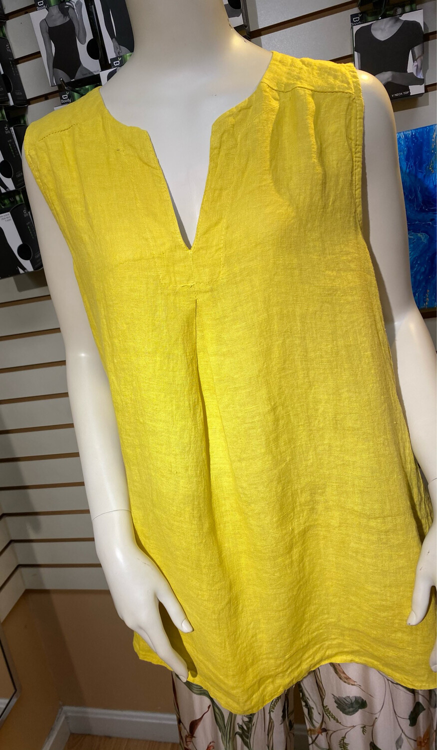 Made In Italy Linen Tank Tunic Bamboo XS