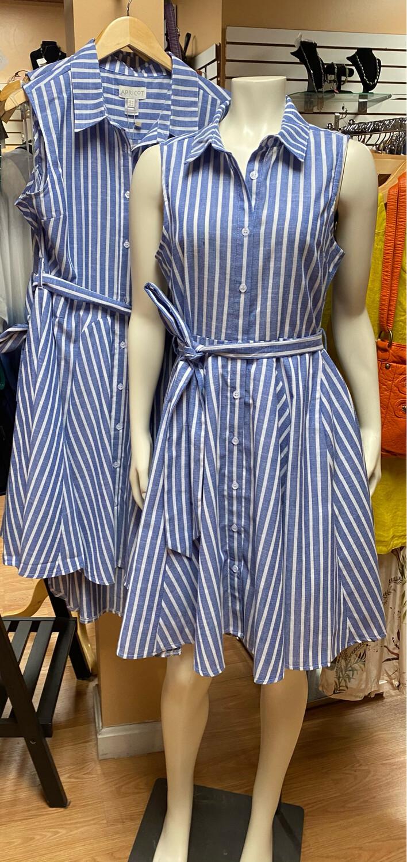 Apricot Pinstripe Button Tie Waist Dress L