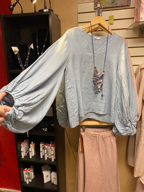 Suzy D Sally Linen Top Jeans Color L
