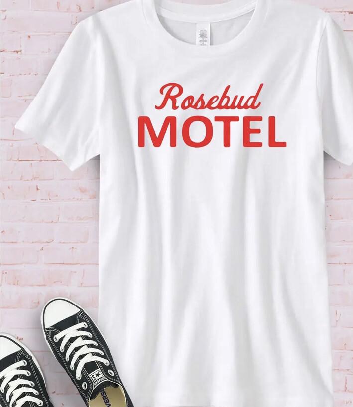 Rosebud Motel Red Wht Tee XL