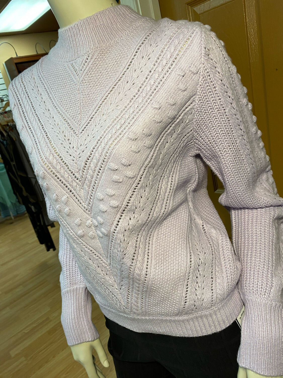 Apricot Cable Knit Sweater Lilac L