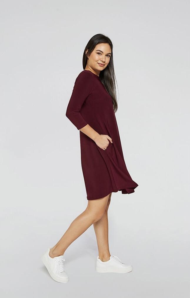 Sympli Trapeze Dress 3\4 Sleeve Pomegranate 2