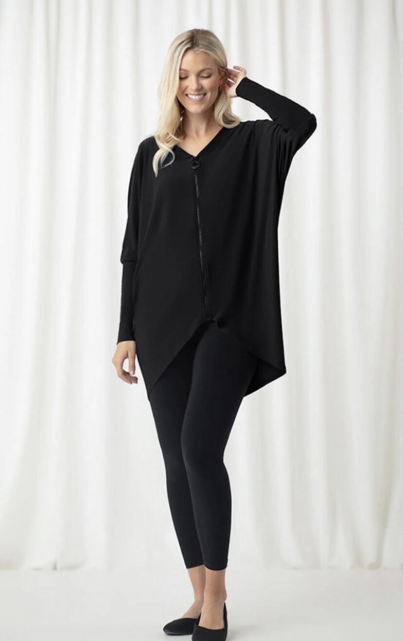 Sympli Zest Zip High Low Tunic Black 10