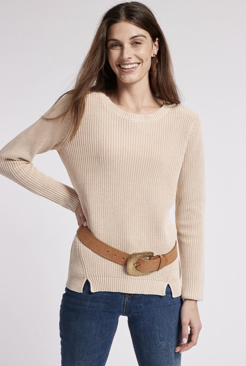T Boe Mineral Wash Sweater Tan XS
