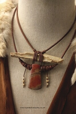 Ancient Cave Bear Bone and Red Soil Jasper Necklace