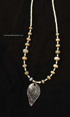 Silver Igniting Matter Necklace with Fire Opals.