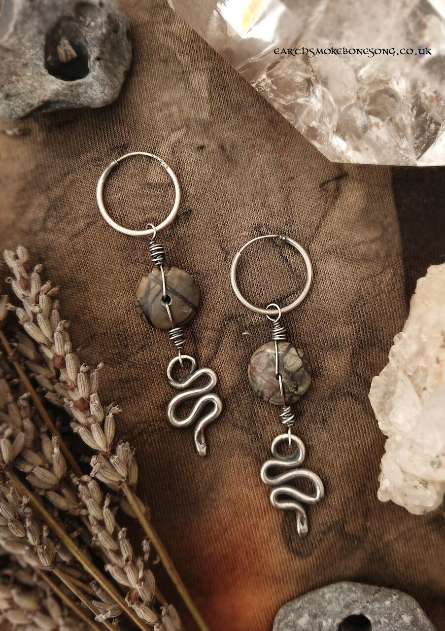 Silver Snake Crone Earrings
