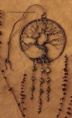Ancient Oak Wisdom Tree with Peridot - altar/wall/window hanging.
