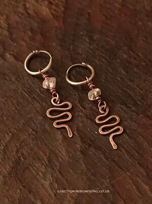 Clear Topaz Snake Earrings