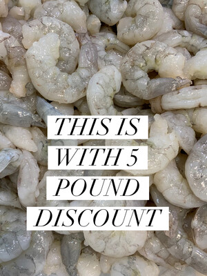 JUMBO PEELED & DEVEIN (16/20 Count) SHRIMP 5 POUND Discount