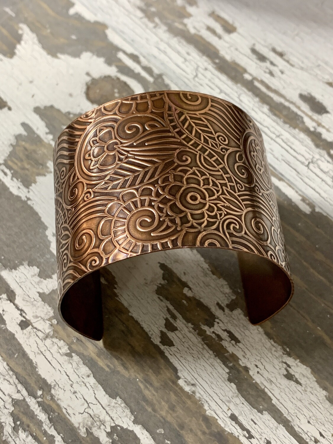Embossed Copper Cuff Bracelet