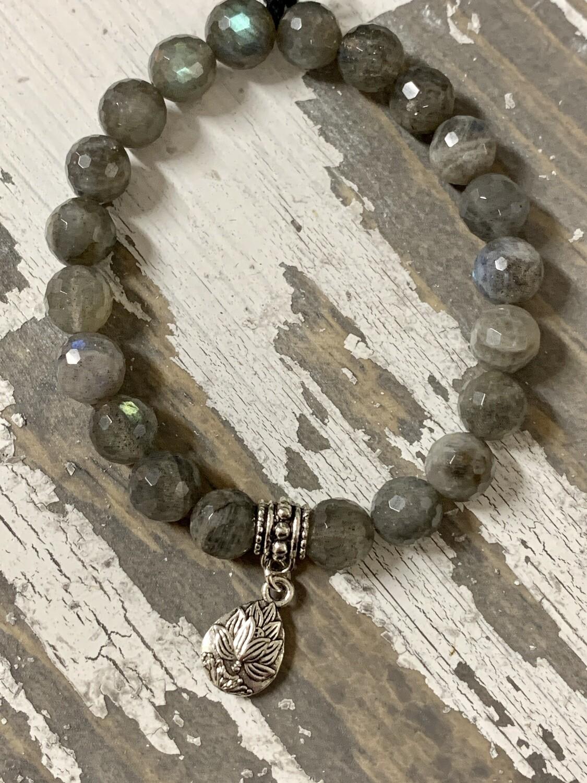 Faceted Labradorite Lotus Bracelet
