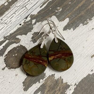 SS & Red Creek Jasper Earrings