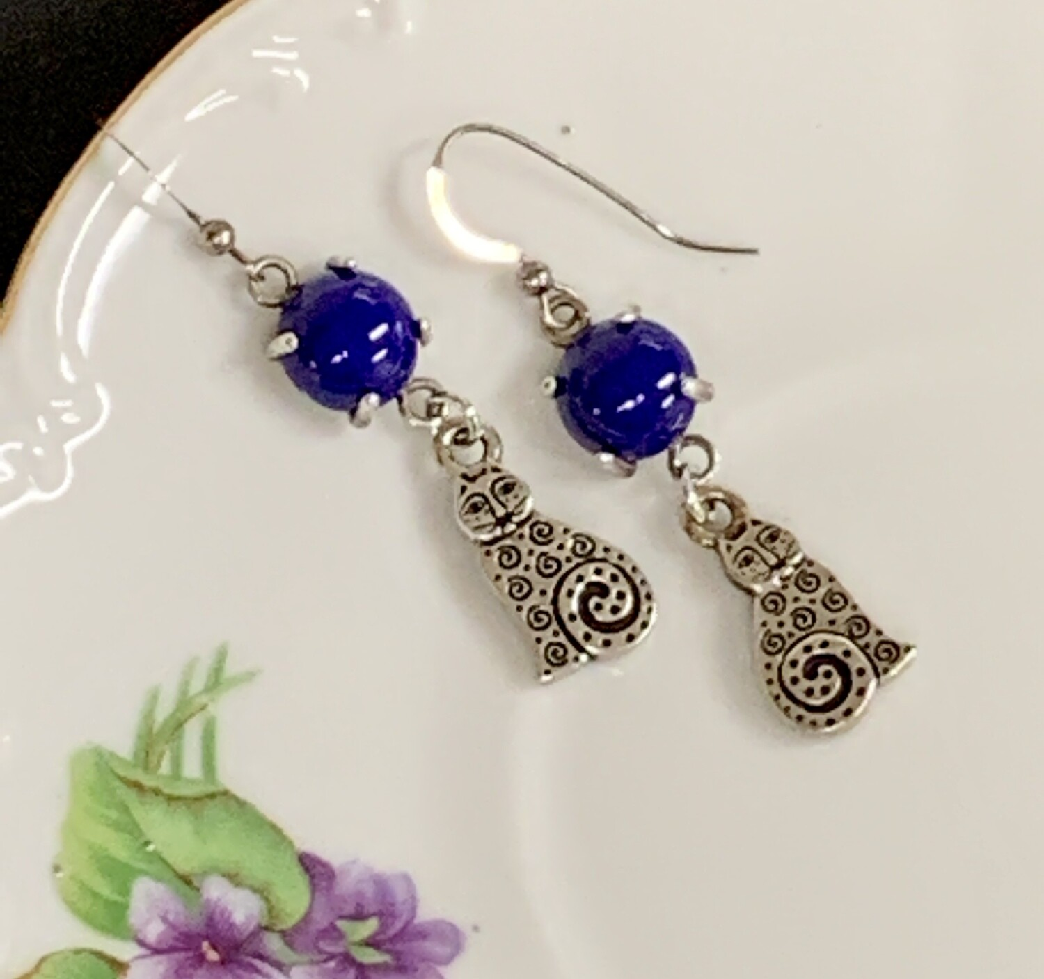 SS & Lapis Cat Earrings