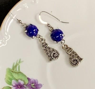 SS & Lapis Cat Earrings