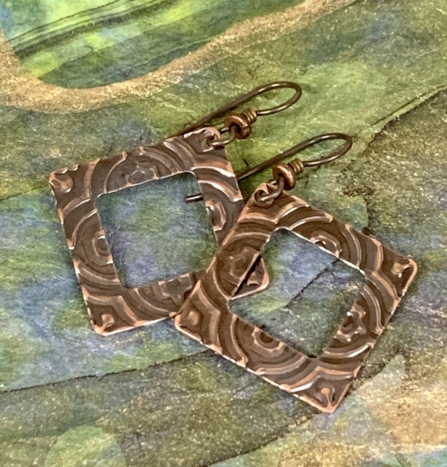Copper Frame Embossed Earrings