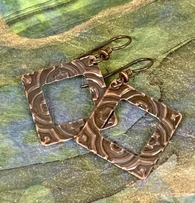 Copper Frame Embossed Earrings