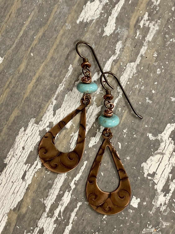Copper Teardrop Embossed w/Turquoise Earrings