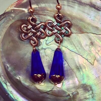 Cobalt & Copper Eternity Earrings